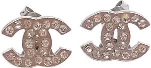 Chanel Chanel Classic Silver CC Crystal Small Piercing Earrings