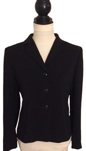 Kasper ASL Petite Shoulder Pads V-neck Notched Collar Button Closure Black Blazer