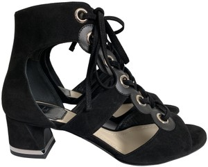 Dior Suede Leather Lace Up Open Toe Black Sandals