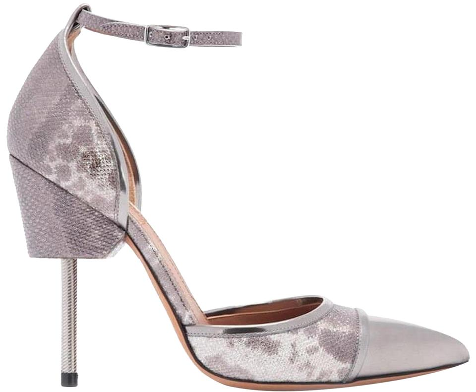 529c8ef1d20 Givenchy Leather Ankle Strap Pointed Toe Screw Heel Silver Gray Pumps Image  0 ...