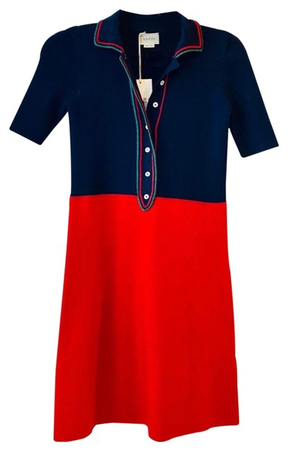 Item - Navy and Red with Metallic Green Details 435170 Mid-length Short Casual Dress Size 0 (XS)