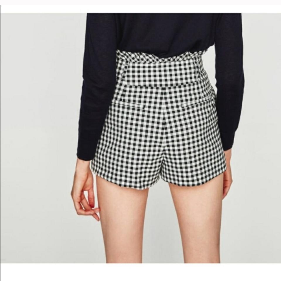 2343e06f Zara Black White Gingham High Waisted & Plaid Shorts Size 2 (XS, 26 ...