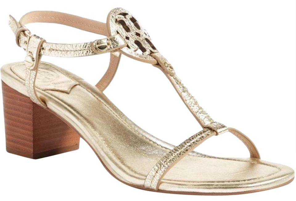 1bbee64efb03 Tory Burch Gold Metallic New Miller Leather Block Box Sandals Size ...