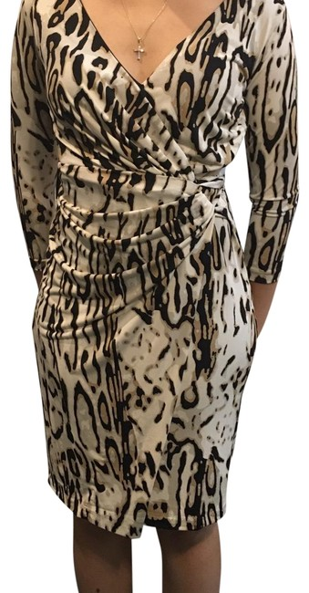 Item - Black Cream Leopard Mid-length Work/Office Dress Size 2 (XS)