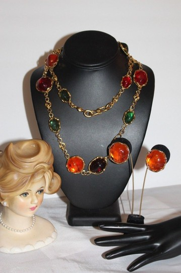 1f16082a840 Saint Laurent YVES SAINT LAURENT YSL MOGUL LARGE POURED GLASS NECKLACE SET  FSD1