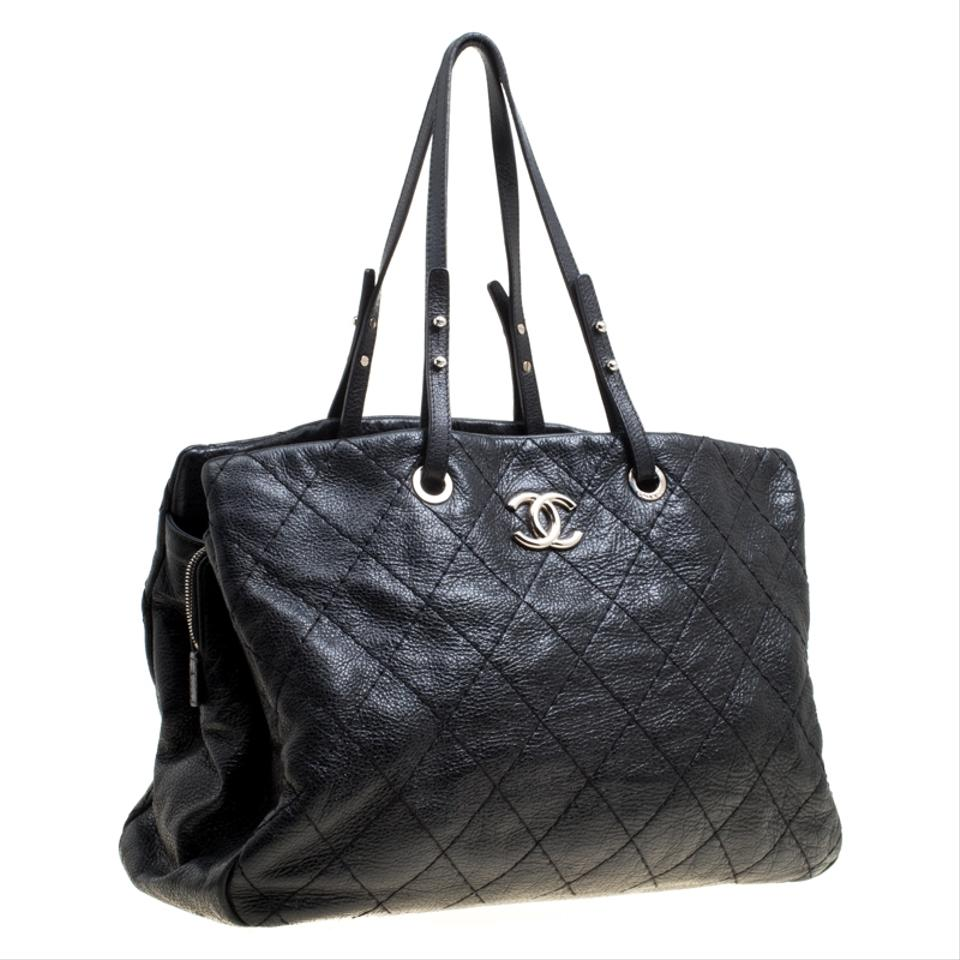 08ac2731febb30 Chanel Quilted Glazed Large On The Road Black Leather Tote - Tradesy