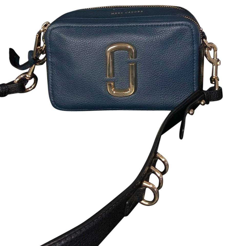 9a092f0d7 Marc Jacobs Shot 21 Blue/Black Pebbled Soft Leather with Gold Hardware Cross  Body Bag