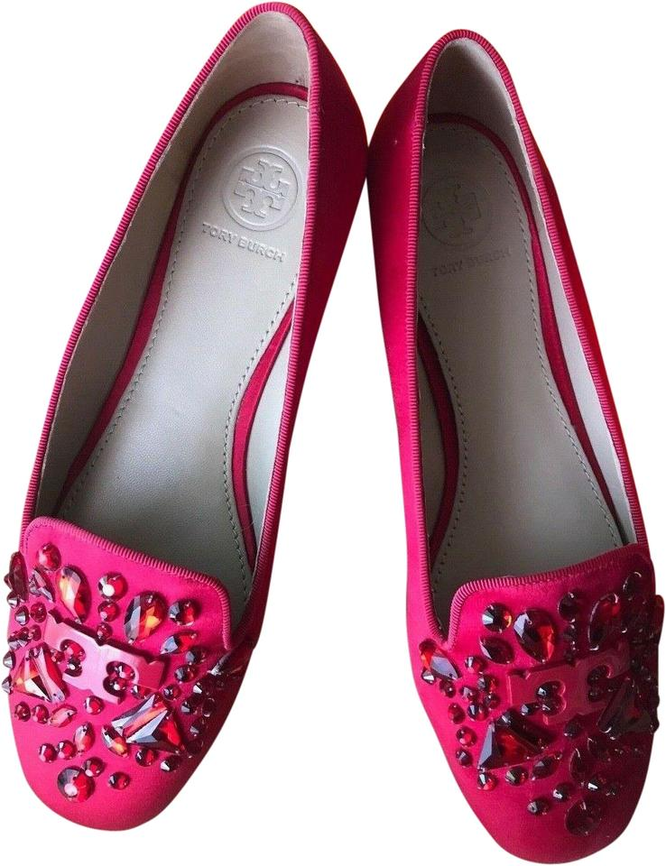 372047d68 Tory Burch Red Embellished Delphine Logo Loafers Satin Lux Carmina ...
