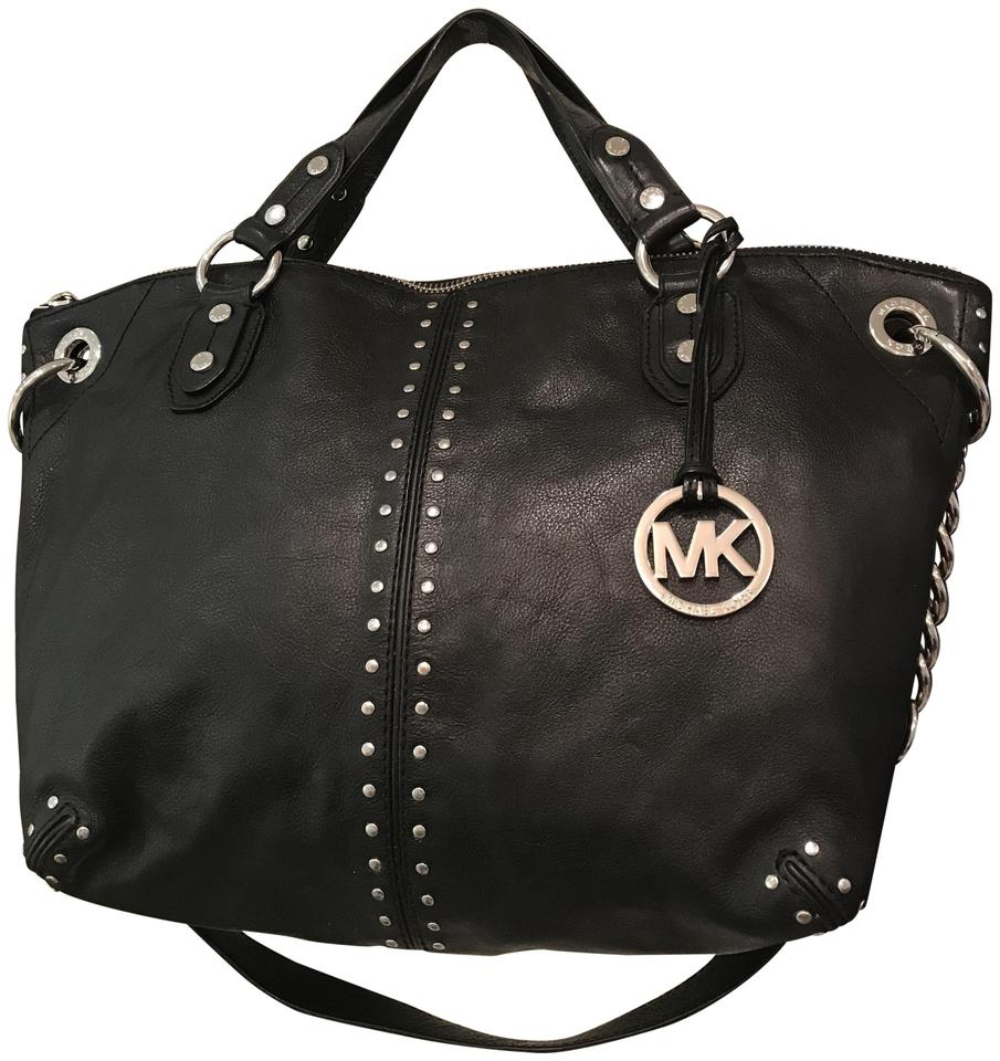 a99d8e16d Michael Kors Stud Studs Large Shoulder Satchel Tote in Black Silver Image 0  ...