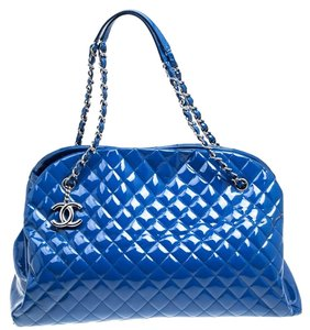 Chanel Quilted Patent Leather Satchel in Blue