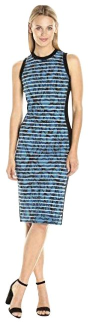 Nicole Miller Blue/Black Knit Transparent Print Stripe Mid-length Cocktail Dress Size 4 (S) Nicole Miller Blue/Black Knit Transparent Print Stripe Mid-length Cocktail Dress Size 4 (S) Image 1