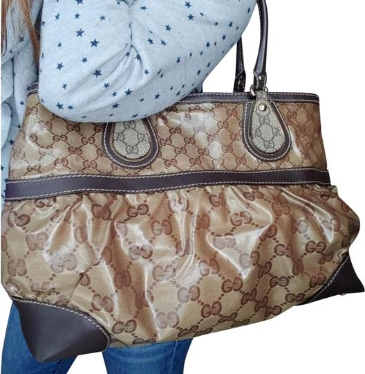 4e2ffd932cdcfb Gucci Gg Monogram Supreme Mix Crystal Brown Leather Coated Canvas ...