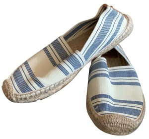 Tory Burch cream and blue stripped Flats