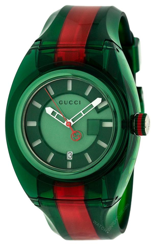656bb7d70a6 Gucci Green Red Mens Flag Sync 46mm Sports Rubber Band Ya137113 Watch
