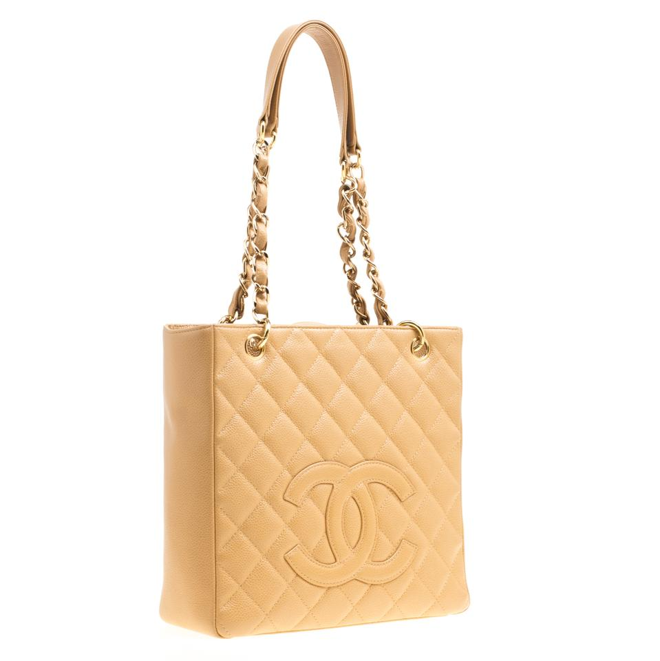 82a2a978b56d Chanel Shopping Tote Caramel Quilted Caviar Petite Brown Leather ...