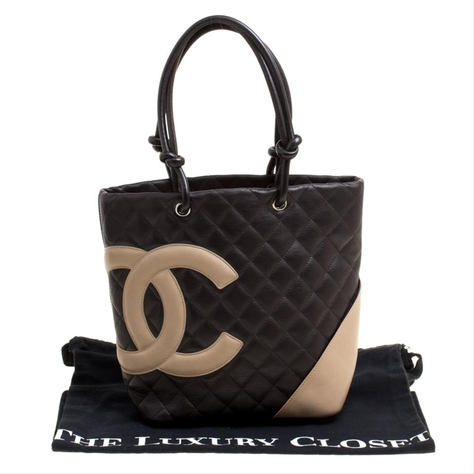 ec61dc1d03801e Chanel Cambon Dark Brown/Beige Quilted Small Ligne Bucket Brown Leather Tote