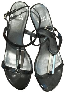 Stuart Weitzman Black with Silver Hardware Sandals