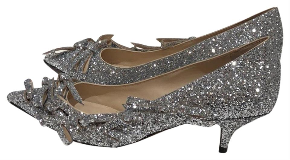 eef2cad391f N°21 Silver Glitter Bow Kitten Heels Pumps. Size  US 9.5 Regular (M ...