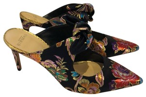 Alexandre Birman multi color satin jacquard floral Mules