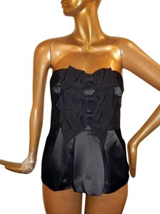 Phoebe Couture Bow Bustier Black Halter Top