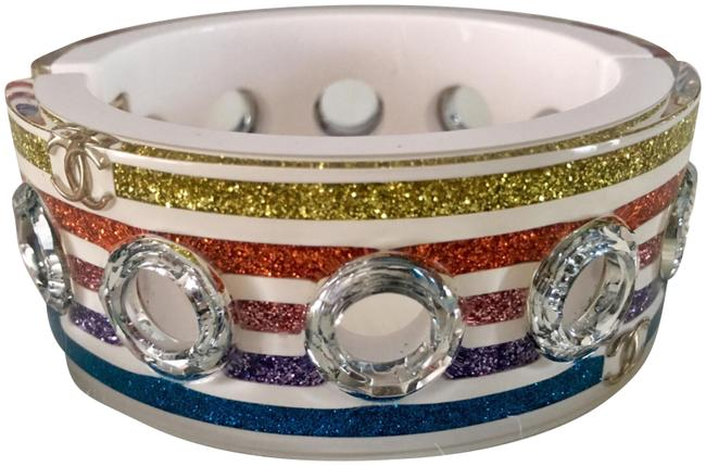 Item - Multicolor New 19c Resin Bangle Cuff with Crystals Grommets Bracelet