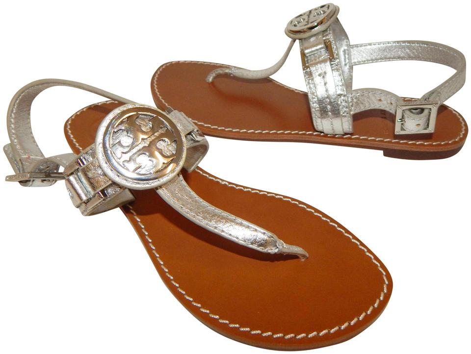 725be7c54571 Tory Burch Silver Cassia Leather Medallion Sandals Flats Size US 5 ...