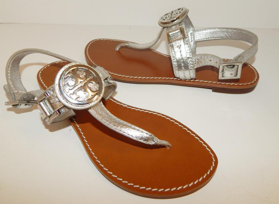 ba703ada0b27 Tory Burch Silver Cassia Leather Medallion Sandals Flats Size US 5 ...