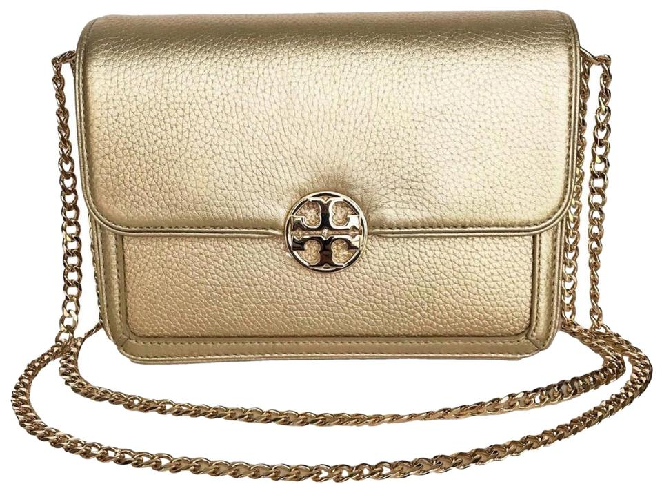23acac0f34b Tory Burch Duet Chain Gold Leather Cross Body Bag - Tradesy