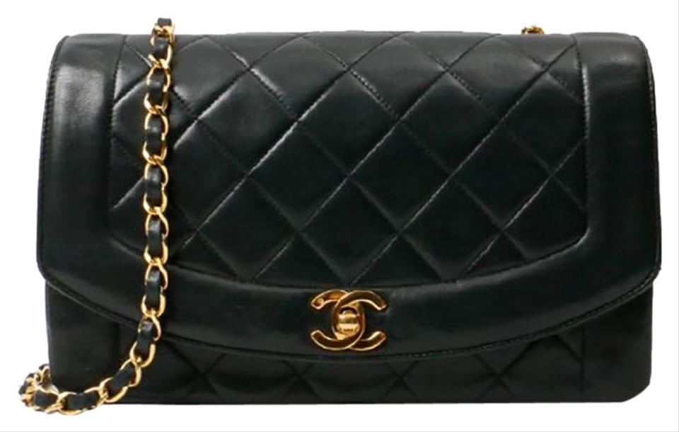 fe55412211e48e Chanel Classic Flap Diana Vintage Quilted Black Lambskin Leather ...