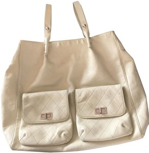 Chanel Travel Reissue Shoulder Jumbo Leather Tote in Beige
