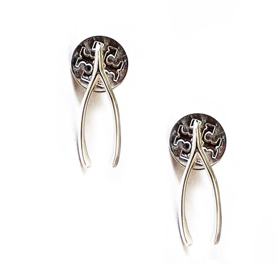 Tory Burch Silver Stud Sterling Lucky Wishbone Earrings 33 Off Retail