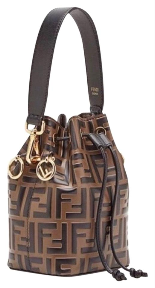 1e7cb96dddc0 Fendi Small Mon Tresor Brown Black Lamb Leather Satchel - Tradesy