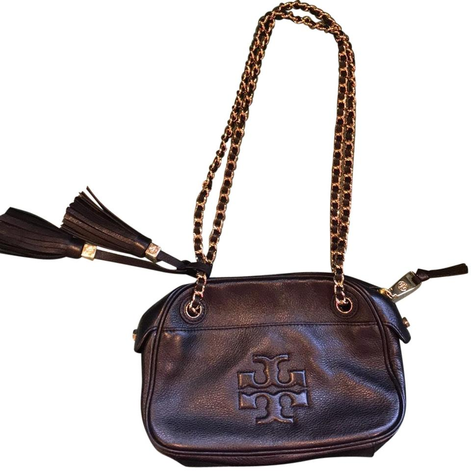 afa476aa7 Tory Burch Thea With Tassels and Gold Chain Black Leather Cross Body ...