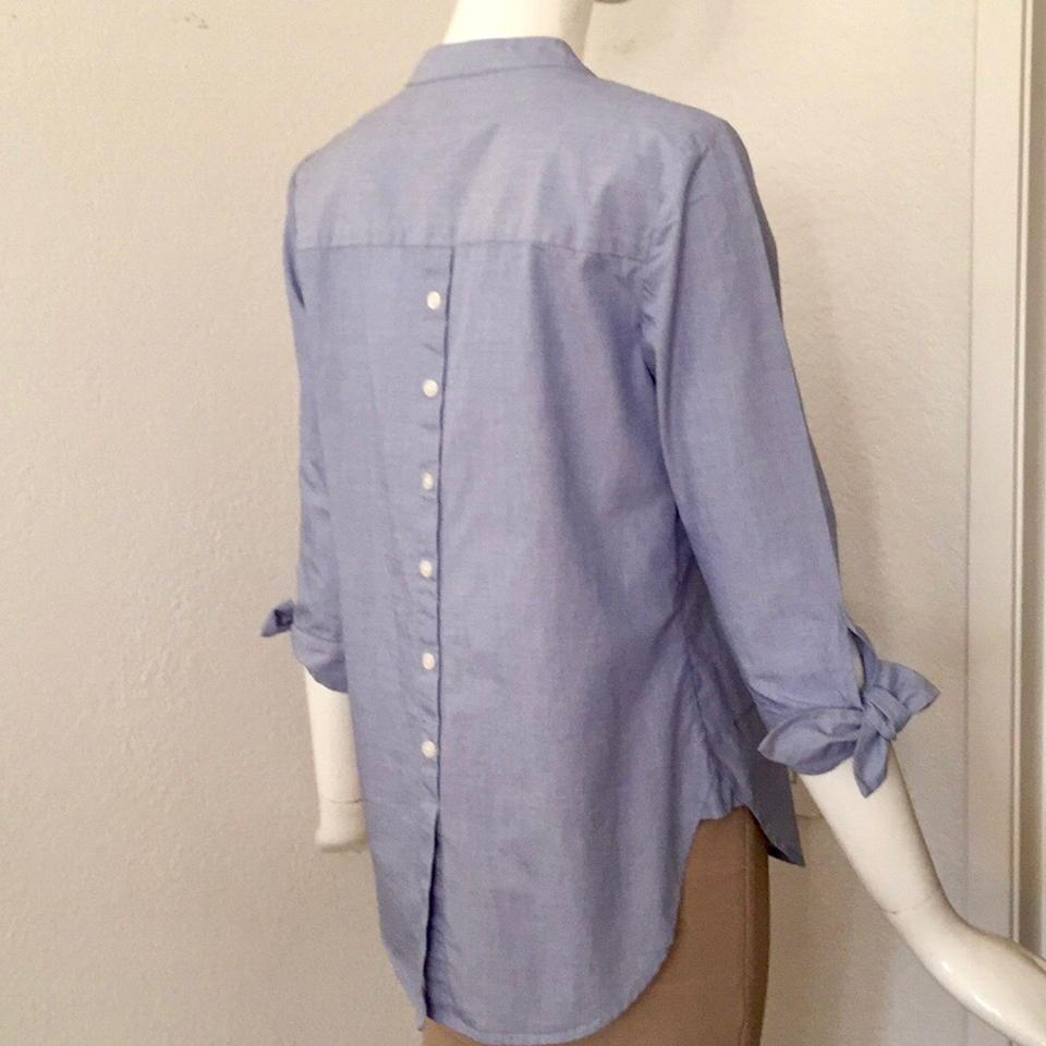 9b6652be30 Talbots Blue Tie-sleeve   Back-buttons Blouse Size Petite 2 (XS) - Tradesy