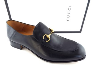 Gucci Black Horsebit Leather Logo Controvertible Slip-on Loafers/Mules 12us/11uk Shoes
