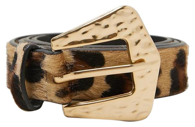 Item - Taupe Brown New Animal Print Leather Belt