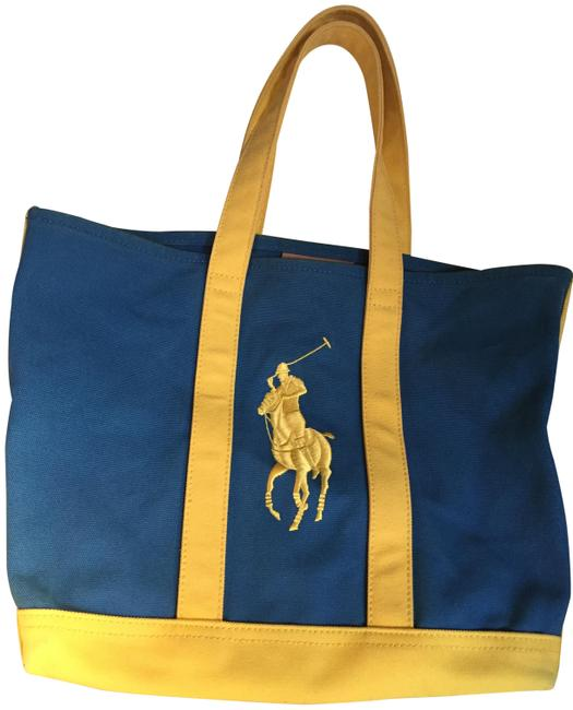 Item - Embroidery Royal Blue and Yellow Canvas Tote