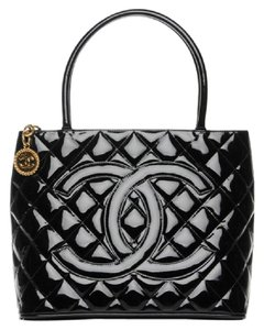 12f58f459b25 Added to Shopping Bag. Chanel Medallion Vintage Patent Leather Tote in Black