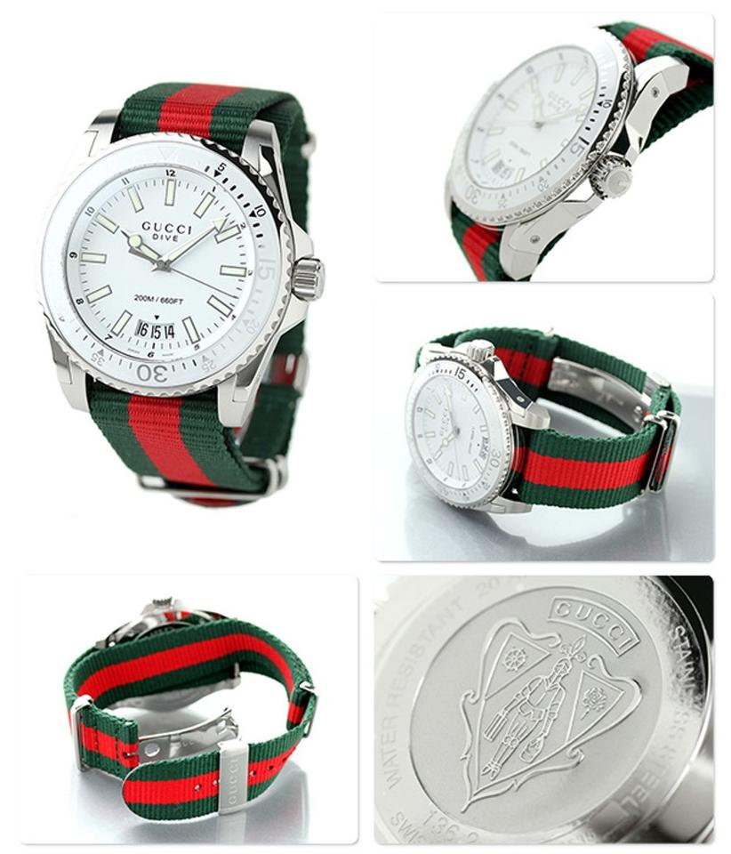 52ef7bd79d4 Gucci Dive 45mm Silver Dial Red and Green Nylon Ya136207 Swiss ...