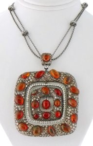 Other Mexican Fire Opal and 13ct Diamond Removable Pendant Chain Necklace