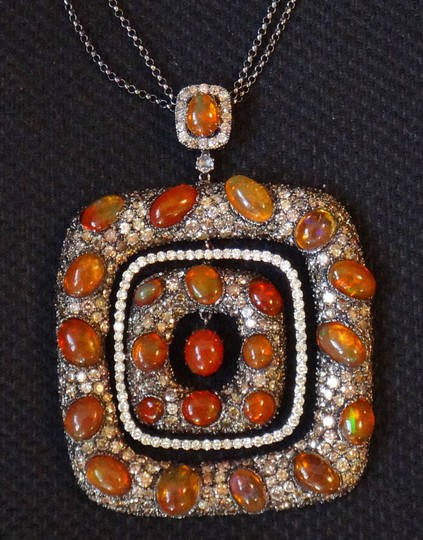 Other Mexican Fire Opal and 13ct Diamond Removable Pendant Chain Necklace Image 1