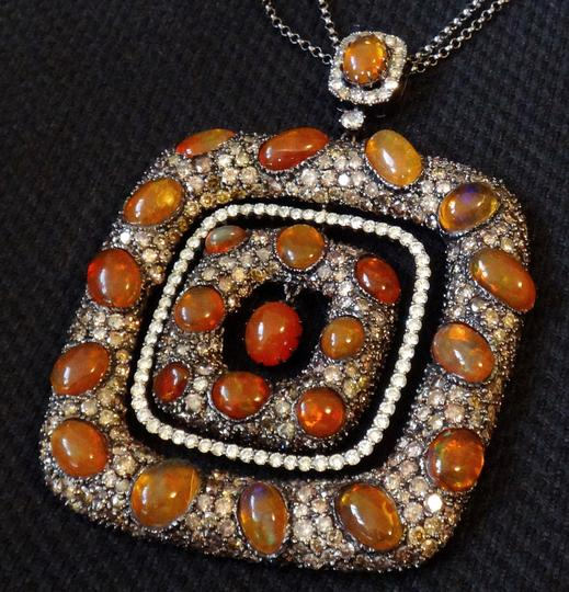 Other Mexican Fire Opal and 13ct Diamond Removable Pendant Chain Necklace Image 2