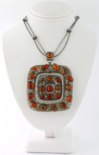 Other Mexican Fire Opal and 13ct Diamond Removable Pendant Chain Necklace Image 3