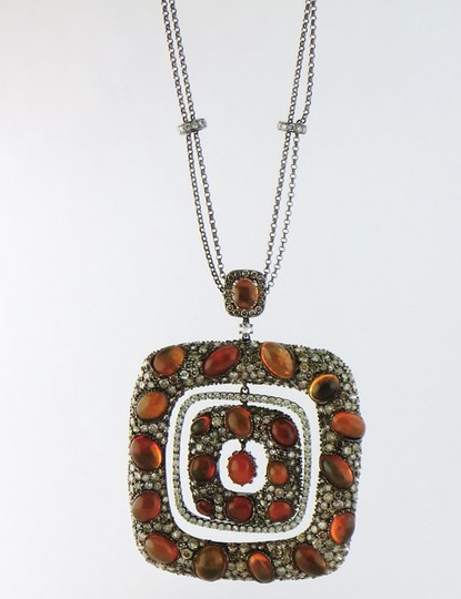 Other Mexican Fire Opal and 13ct Diamond Removable Pendant Chain Necklace Image 4