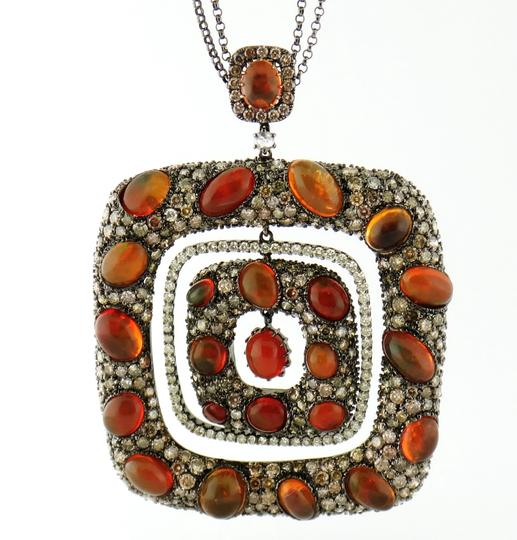 Other Mexican Fire Opal and 13ct Diamond Removable Pendant Chain Necklace Image 6