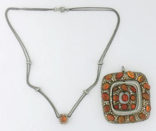 Other Mexican Fire Opal and 13ct Diamond Removable Pendant Chain Necklace Image 8