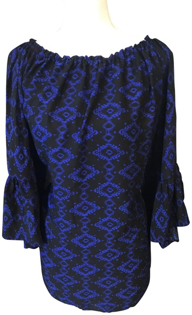 Flare Sleeve Flirty Blouse. Can Be Worn On Or Off Shoulder Black and Royal Sweater Flare Sleeve Flirty Blouse. Can Be Worn On Or Off Shoulder Black and Royal Sweater Image 1