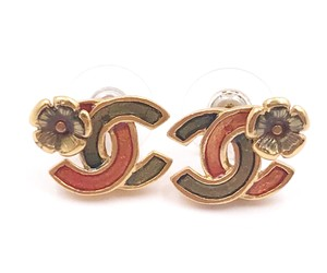 Chanel Chanel Gold Plated CC Flower Red Green Enamel Piercing Earrings