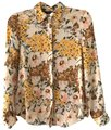 Zara Floral Button Up Polyester Top yellow, multi