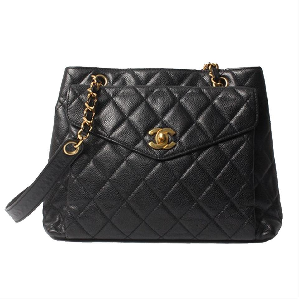 b3a75198c896ed Chanel Shopping Vintage Quilted Cc Logo Black Caviar Leather Tote ...